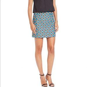 NWT MILLY Modest Mini Skirt in Sky Jacquard Sz 2
